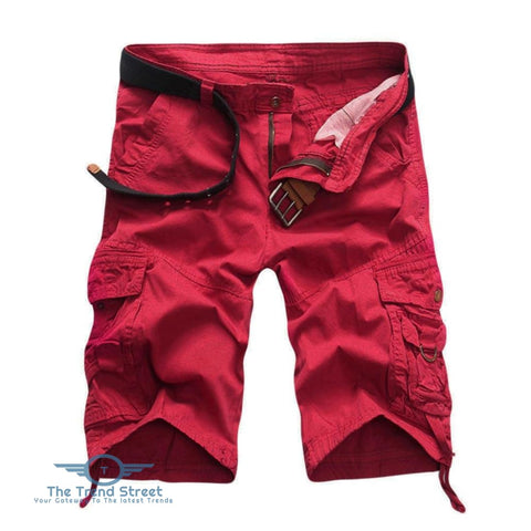 Casual Mid Waist Pure Color Loose-fitting Multiple Pocket Cotton Men Shorts RED / 31