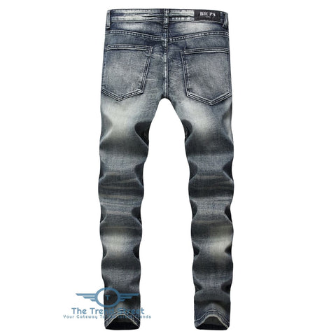 Checked Straight Leg Tapered Jeans