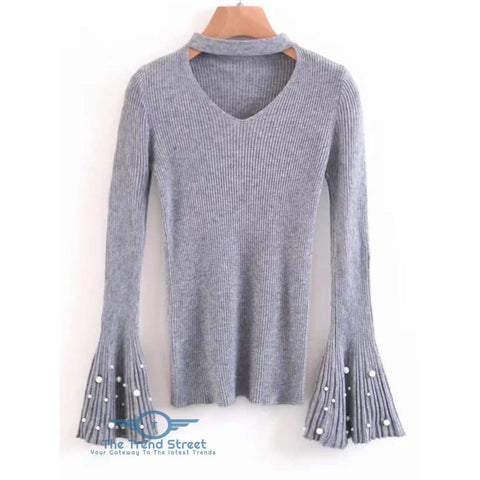 Choker Flare Sleeve Faux Pearl Sweater GRAY / ONE SIZE