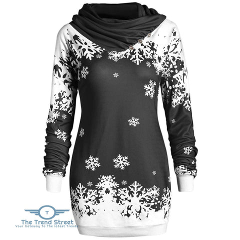 Christmas Snowflake Cowl Neck Longline Sweatshirt BLACK / 2XL