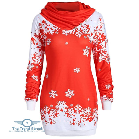 Christmas Snowflake Cowl Neck Longline Sweatshirt RED / L
