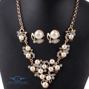 Crystal Flower Necklace and Earring Set for Women Accessories