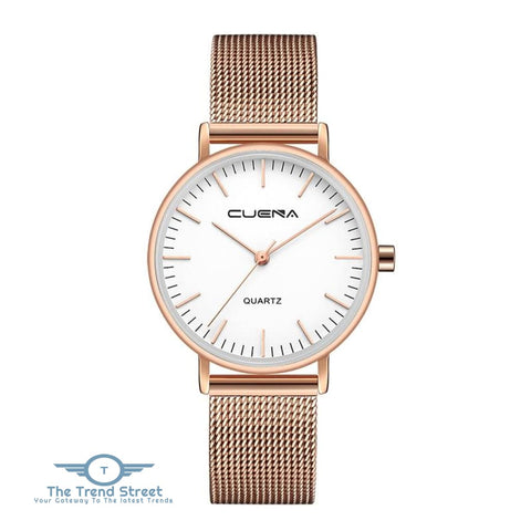 Image of CUENA 6645G Women Casual Quartz Watch Stainless Steel Band Wristwatch WHITE ROSE GOLD