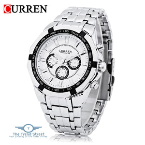 Curren 8084 Male Quartz Watch 3ATM Decorative Sub-dial Stainless Steel Band Wristwatch WHITE