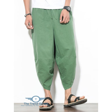 Image of Curve Hem Nine Minutes of Jogger Pants with Pockets CLOVER GREEN / L
