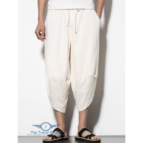 Curve Hem Nine Minutes of Jogger Pants with Pockets WHITE / L