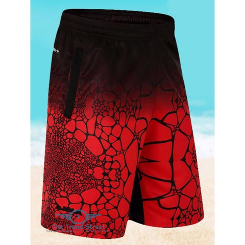 Elastic Waist Printed Board Shorts RED / L