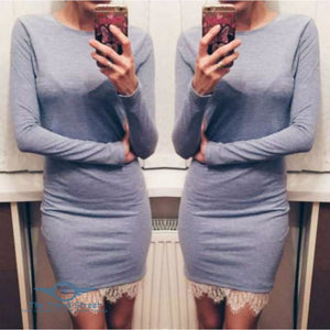 Elegant Casual Fit Bodycon Dress light gray / L Dress