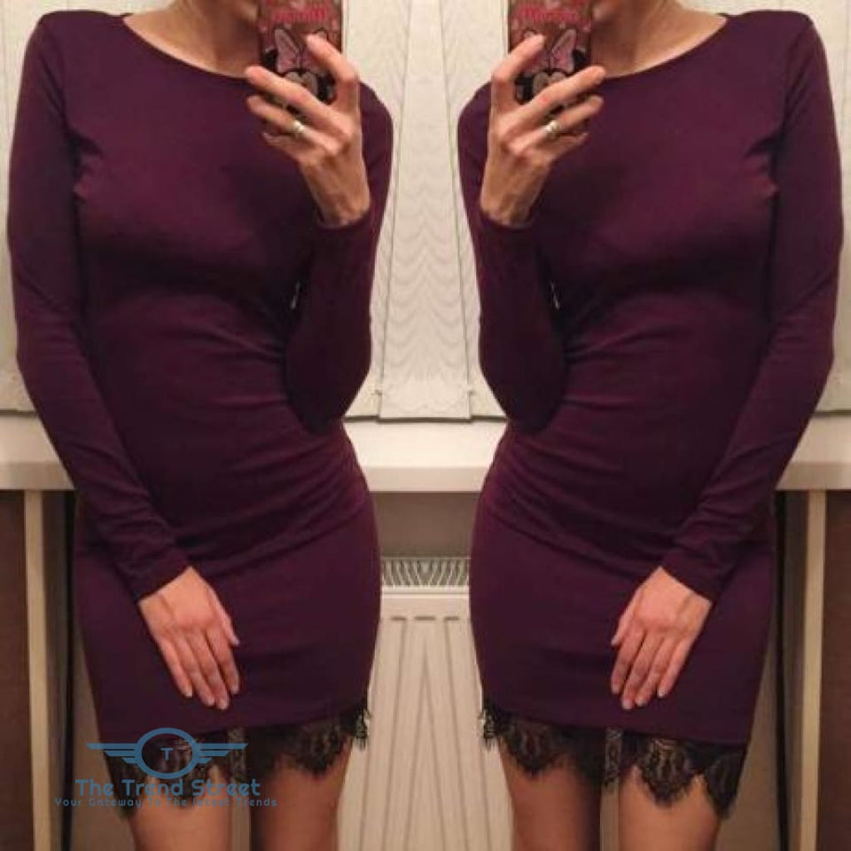 Elegant Casual Fit Bodycon Dress wine red / L Dress