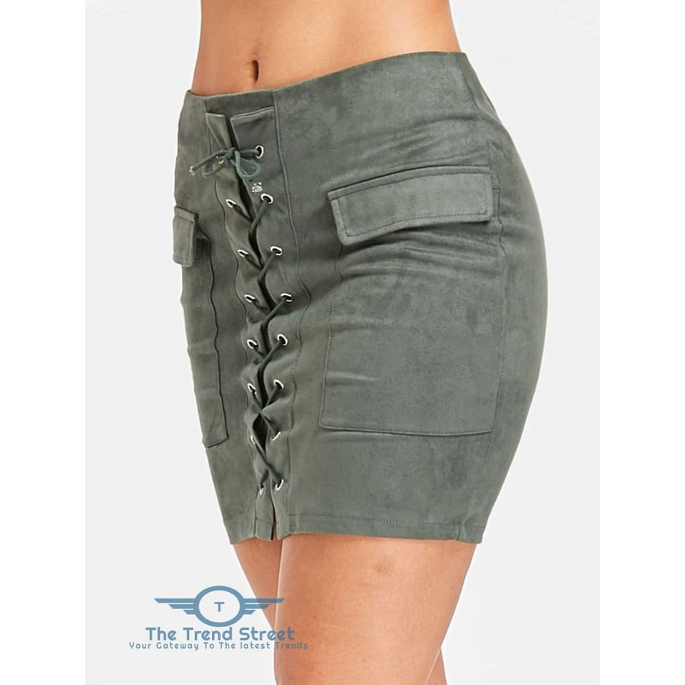 ee49f7fa06 ... Faux Suede Slim Fitted Skirt ARMY GREEN / L ...