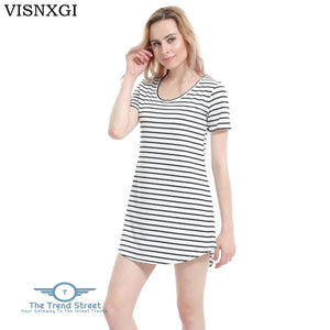 Female Sundress Black White Striped O Neck Mini Dress Dress