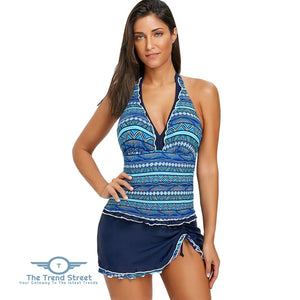 Frilled Trim Tribal Print Skirted Swimsuit BLUE / L