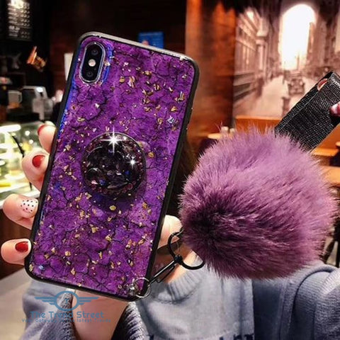 Glitter Crystal Case For Samsung & iPhone purple / For Samsung S8 Phone Case
