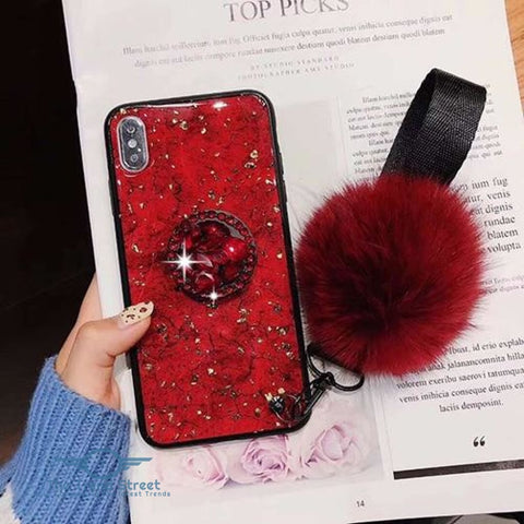 Glitter Crystal Case For Samsung & iPhone red / For Samsung S8 Phone Case