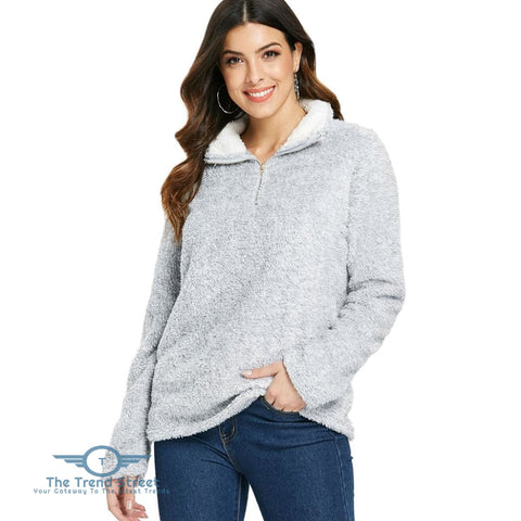 Image of Half Zip Fuzzy Sweatshirt PLATINUM / L