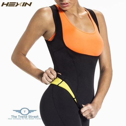 Image of HEXIN Plus Size Neoprene Sweat Sauna Hot Body Shapers Vest Waist Trainer Slimming Vest Shapewear Weight Loss Waist Shaper Corset 31205