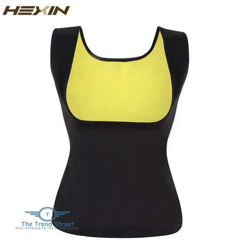 Image of HEXIN Plus Size Neoprene Sweat Sauna Hot Body Shapers Vest Waist Trainer Slimming Vest Shapewear Weight Loss Waist Shaper Corset Black /