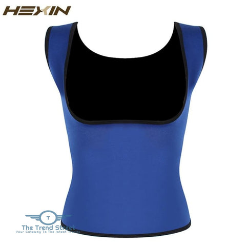 Image of HEXIN Plus Size Neoprene Sweat Sauna Hot Body Shapers Vest Waist Trainer Slimming Vest Shapewear Weight Loss Waist Shaper Corset Blue / XXXL