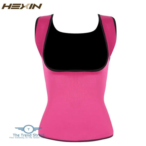 Image of HEXIN Plus Size Neoprene Sweat Sauna Hot Body Shapers Vest Waist Trainer Slimming Vest Shapewear Weight Loss Waist Shaper Corset Pink / XXXL