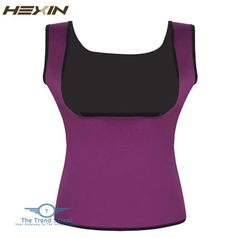 Image of HEXIN Plus Size Neoprene Sweat Sauna Hot Body Shapers Vest Waist Trainer Slimming Vest Shapewear Weight Loss Waist Shaper Corset Purple /