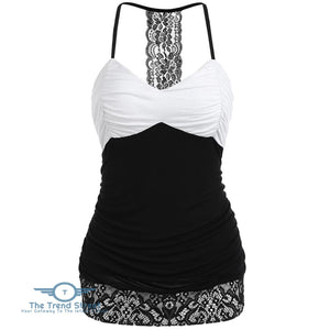 Hit Color Open Back Slip Top BLACK / 2XL