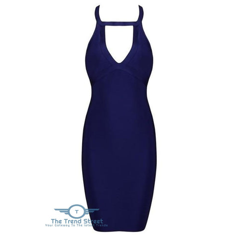 Hollow Out Backless Halter Sleeveless Dress Navy Blue / XS dress