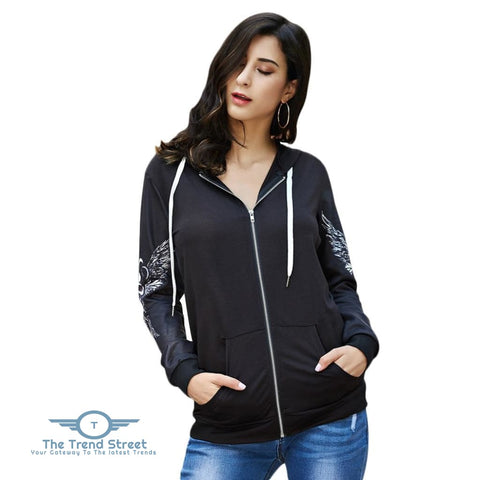 Image of Hooded Long Sleeve Skull Print Lace-up Zipper Women Hoodie BLACK / 2XL