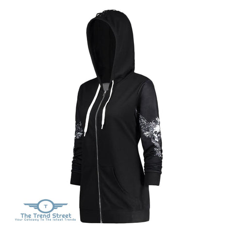 Hooded Long Sleeve Skull Print Lace-up Zipper Women Hoodie