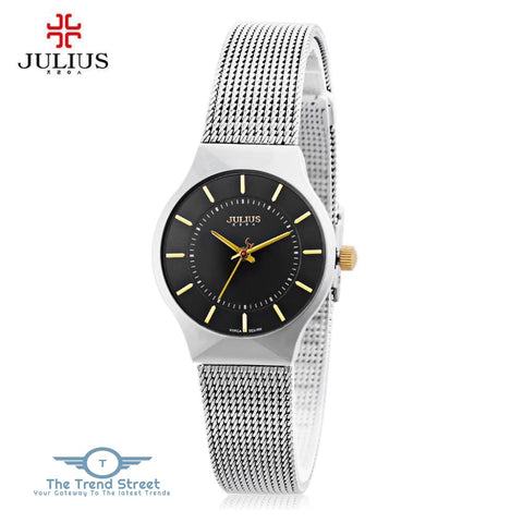 Julius JA - 577 Women Ultrathin Quartz Wrist Watch Stainless Steel Mesh Band BLACK
