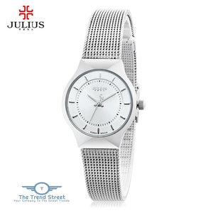 Julius JA - 577 Women Ultrathin Quartz Wrist Watch Stainless Steel Mesh Band WHITE