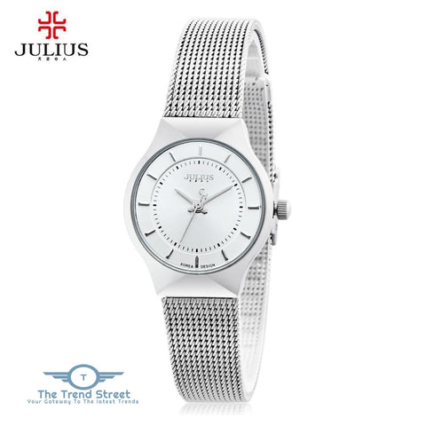 Image of Julius JA - 577 Women Ultrathin Quartz Wrist Watch Stainless Steel Mesh Band WHITE