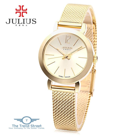 Julius JA - 732 Women Quartz Watch Stainless Steel Net Band Luminous Pointer Female Wristwatch GOLDEN