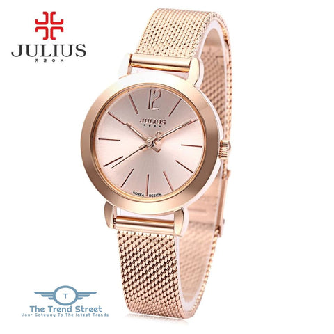 Julius JA - 732 Women Quartz Watch Stainless Steel Net Band Luminous Pointer Female Wristwatch ROSE GOLD