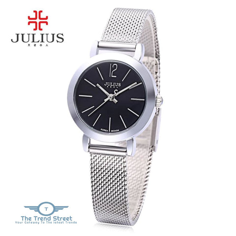 Julius JA - 732 Women Quartz Watch Stainless Steel Net Band Luminous Pointer Female Wristwatch SILVER AND BLACK