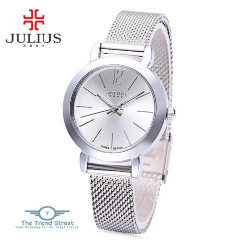 Julius JA - 732 Women Quartz Watch Stainless Steel Net Band Luminous Pointer Female Wristwatch SILVER