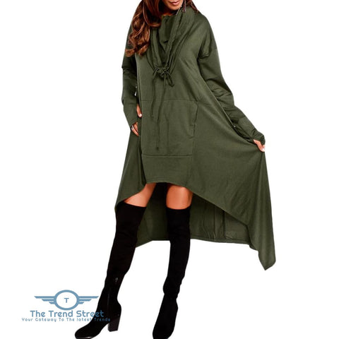 Kangaroo Pocket Asymmetric Maxi Hoodie ARMY GREEN / 2XL