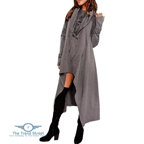 Kangaroo Pocket Asymmetric Maxi Hoodie DEEP GRAY / 2XL