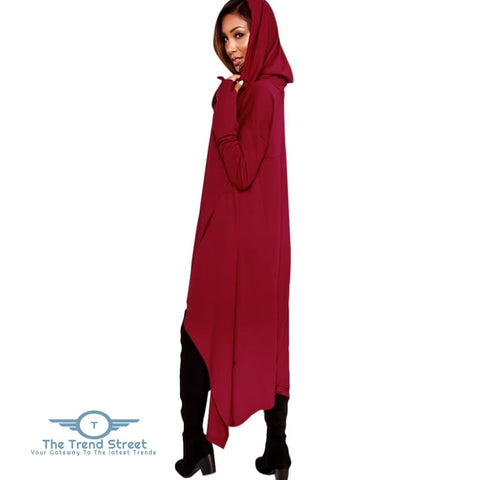 Image of Kangaroo Pocket Asymmetric Maxi Hoodie