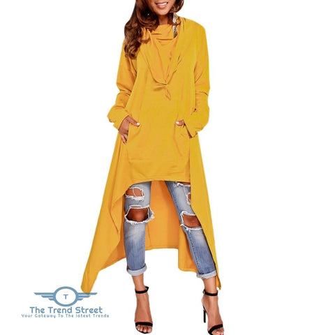 Kangaroo Pocket Asymmetric Maxi Hoodie YELLOW / 2XL