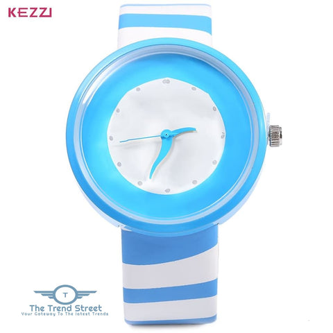 KEZZI 654 Women Quartz Watch Zebra Stripe Band Fashional Wristwatch BLUE