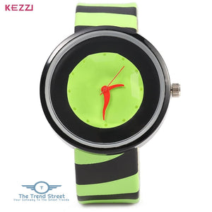 KEZZI 654 Women Quartz Watch Zebra Stripe Band Fashional Wristwatch GREEN