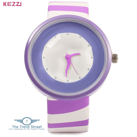 KEZZI 654 Women Quartz Watch Zebra Stripe Band Fashional Wristwatch PURPLE