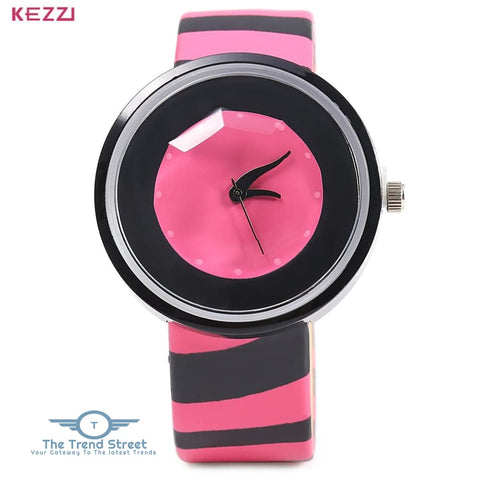 KEZZI 654 Women Quartz Watch Zebra Stripe Band Fashional Wristwatch RED