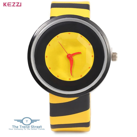 KEZZI 654 Women Quartz Watch Zebra Stripe Band Fashional Wristwatch YELLOW