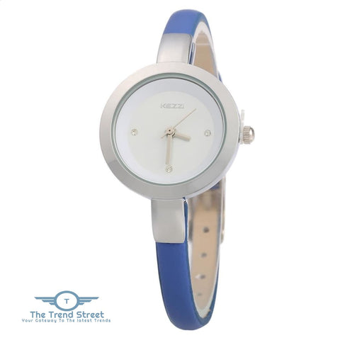 KEZZI K - 575 Women Quartz Watch Round Dial Slender Leather Band Wristwatch BLUE