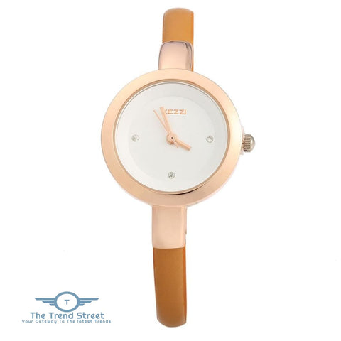 Image of KEZZI K - 575 Women Quartz Watch Round Dial Slender Leather Band Wristwatch