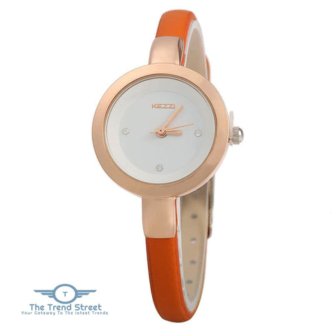 KEZZI K - 575 Women Quartz Watch Round Dial Slender Leather Band Wristwatch ORANGE