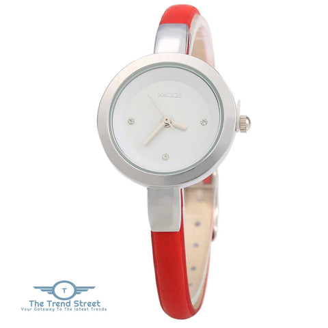 KEZZI K - 575 Women Quartz Watch Round Dial Slender Leather Band Wristwatch RED
