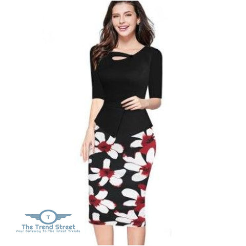 Image of Knee-Length Floral Print Half Sleeve Office Business Sheath Pencil Dress Black / S dress