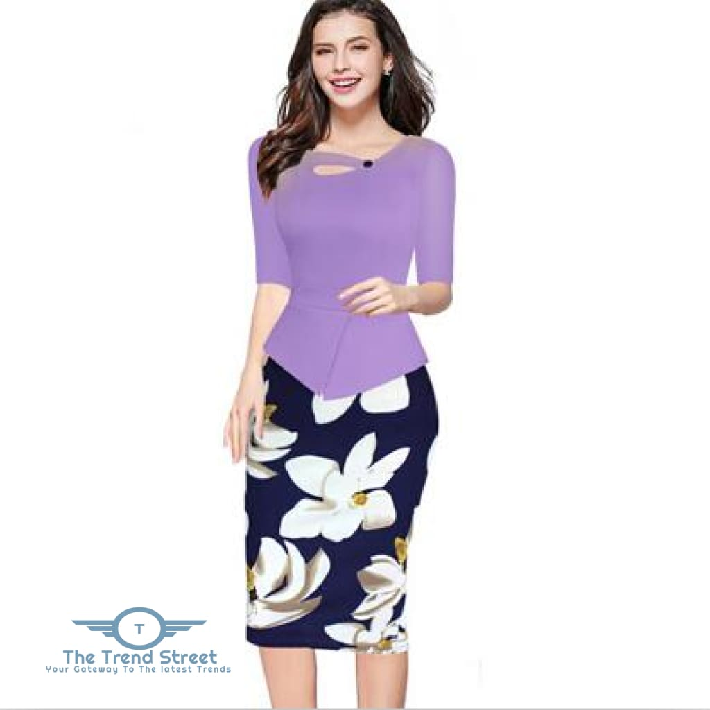 Knee-Length Floral Print Half Sleeve Office Business Sheath Pencil Dress Lavender / S dress